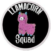Funny Llamacorn Squad Unicorn Alpaca Lama Round Beach Towel