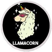 Funny Llamacorn Unicorn Alpaca Lama Round Beach Towel
