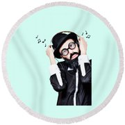 Funny Man Wearing Headphone On Blue Background Round Beach Towel