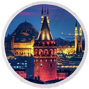 Galata Tower And Suleymaniye Mosque Round Beach Towel