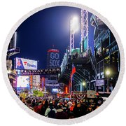 Game Night On Lansdowne Street 2018 World Series Red Sox Boston Ma Round Beach Towel
