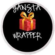 Gangsta Wrapper Funny Christmas Xmas Gift  Round Beach Towel