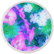 Garden Flowers In Pink, Green And Blue Round Beach Towel