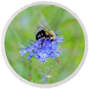 Floating On Blue  Round Beach Towel