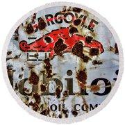 Gargoyle Mobiloil Vacuum Oil Co Rusty Sign Round Beach Towel