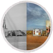Gas Station - In The Middle Of Nowhere 1940 - Side By Side Round Beach Towel