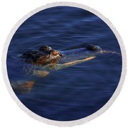 Gator And Snake Round Beach Towel by Tom Claud