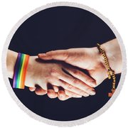 Gay And Christian Person Shaking Hands Round Beach Towel