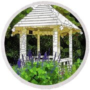 Gazebo In A Beautiful Public Garden Park 3 Round Beach Towel