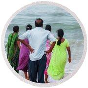 Gazing Towards The Rough Sea  Round Beach Towel