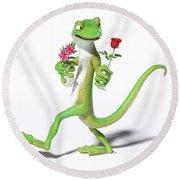 Gecko In Love Round Beach Towel