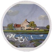 Geese, 1897 Round Beach Towel
