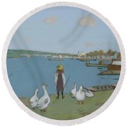 Geese By The River Loing 02 Round Beach Towel