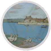 Geese By The River Loing 03 Round Beach Towel