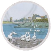 Geese By The River Loing 04 Round Beach Towel