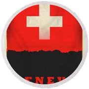Geneva Switzerland World City Flag Skyline Round Beach Towel