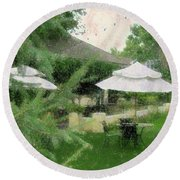 Gentility Impression  Round Beach Towel