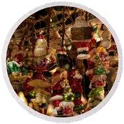 German Christmas Ornaments Round Beach Towel
