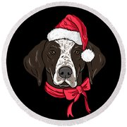 German Shorthair Xmas Hat Dog Lover Christmas Round Beach Towel
