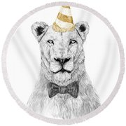 Get The Party Started Round Beach Towel