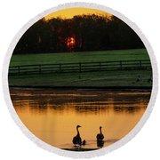Gettysburg Pennsylvania - Sunrise On A Duck Pond Round Beach Towel by Bill Cannon