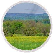 Gettysburg Pennsylvania - Yellow Flowers In Field Round Beach Towel by Bill Cannon