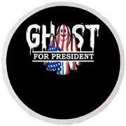 Ghost Elected Cute Halloween Spirit In American Flag Dark Round Beach Towel