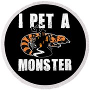 Gila Monster Halloween Venomous Lizard Pet Owner Dark Round Beach Towel