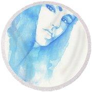 Girl In Blue Round Beach Towel