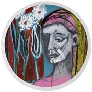 Girl In Pink Round Beach Towel