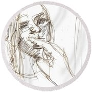 Girl Portrait Drawing Round Beach Towel