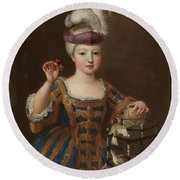 'girl With A Bird Cage'. Ca. 1712. Oil On Canvas. Round Beach Towel