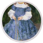 Girl With Jumping Rope, 1876 Round Beach Towel