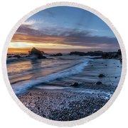 Glass Beach Sunset Round Beach Towel