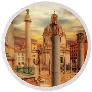 Glories Past And Present,  Rome Round Beach Towel