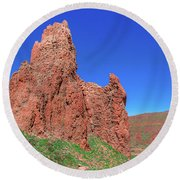 Glowing Red Rocks In The Teide National Park Round Beach Towel
