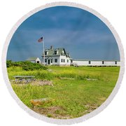 Goat Island Lighthouse Vibrant Day Landscape  Round Beach Towel