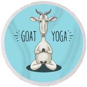 Goat Yoga - Meditating Goat Round Beach Towel