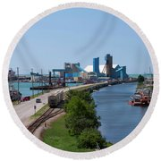 Goderich Harbour And Maitland Valley Marina Round Beach Towel