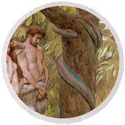 Gods Curse, Adam And Eve Round Beach Towel