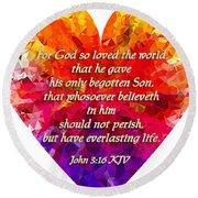 God's Heart Round Beach Towel