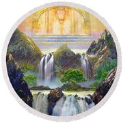 God's Holy Hill Round Beach Towel