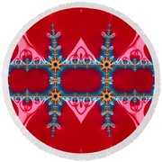 Gods Love And Mercy Is Infinite Fractal Abstract Hearts Round Beach Towel by Rose Santuci-Sofranko