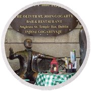 Gogarty And Joyce Statues One Round Beach Towel