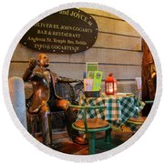 Gogarty And Joyce Statues Two Round Beach Towel