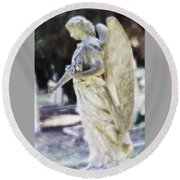 Golden Angel With Pink Rose Round Beach Towel