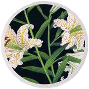 Golden-banded Lily - Digital Remastered Edition Round Beach Towel