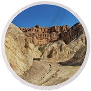 Golden Canyon's Red Cathedral Round Beach Towel