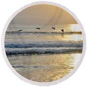Golden Daybreak Round Beach Towel