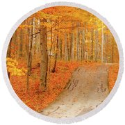 Golden Haven Round Beach Towel